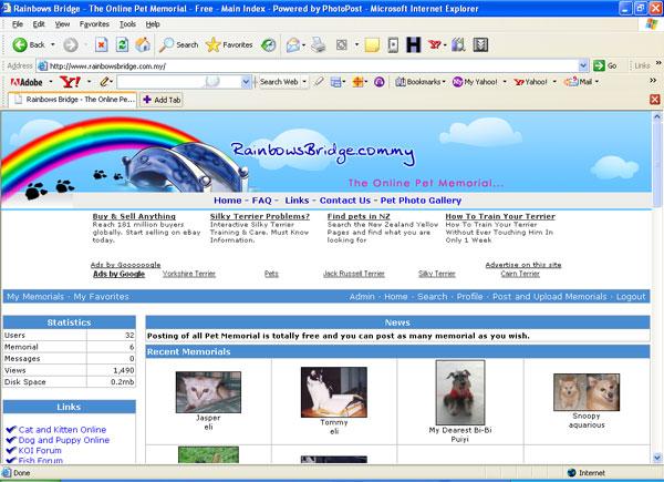 Online pet memorial